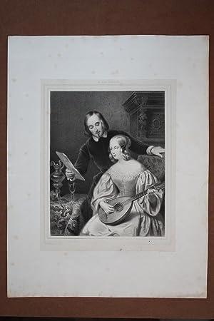 Paar beim Lautespiel, schöner Lithographie um 1840 nach R. van Eijsden, Blattgröße:...