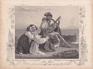 Laute, Fra Nicolo, Stahlstich um 1850 mit drei Personen am Strand mit maritimem Schmuckrahmen, von ...