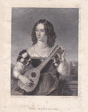 Die Mandoline, The Mandoline, kleinformatiger Stahlstich um 1840 von H. Robin nach H. Howard, ...