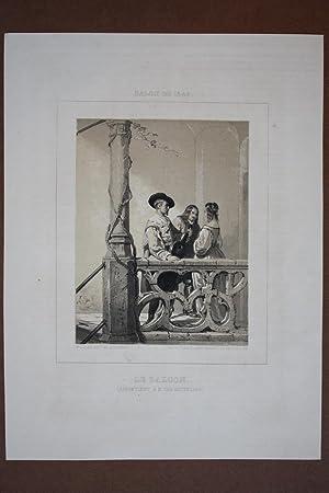 Laute, Le Balcon, schöne Lithographie um 1848, Blattgröße: 30,5 x 22,8 cm, reine ...