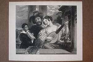 Lautespielerin, The Duett, Stahlstich um 1840 von R. Bell nach W. Etty, Blattgröße: 25 x...