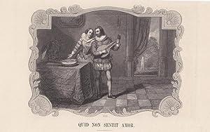 Quid non sentit Amor, Lautespieler, Holzstich um 1860, Blattgröße: 15,5 x 24 cm, reine ...