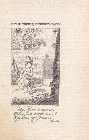 Trommel, Het Kinderlijk Vergenoegen, Kupferstich um 1790 mit kleinem Trommler, Blattgröß...