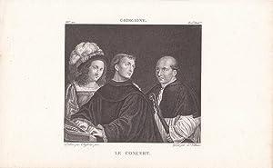 Le Concert, Das Konzert, Kupferstich um 1820, Blattgröße: 15,5 x 24,5 cm, reine Bildgr&...