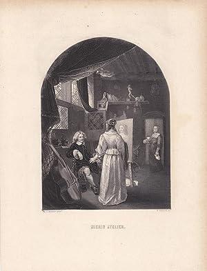 Mieris Atelier, Stahlstich um 1850 von W. French nach Fr. v. Mieris, Blattgröße: 27 x ...