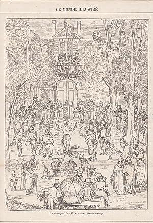 La musique chez M. le maire, Holzstich um 1870, Blattgröße: 25 x 17,3 cm, reine Bildgr&...