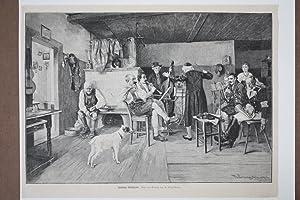 Ländliche Musikprobe, schöner Holzstich um 1870 mit Blick in eine bürgerliche Kammer...