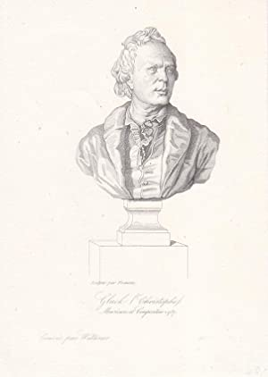 Christoph Willibald Gluck (1714-1787) als Brustportrait, Stahlstich um 1850 Graves par Waltener, ...