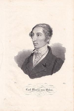 Carl Maria von Weber (1786-1826), Lithographie um 1830, Blattgröße: 27 x 17,7 cm, reine ...