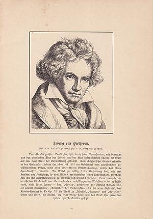 Ludwig van Beethoven (1770-1827), Holzstich um 1860 mit Bibliographischen Angaben unter der ...