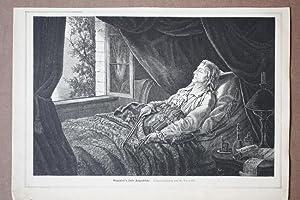 Paganinis letzte Augenblicke, Holzstich von 1882 mit Paganini auf dem Totenbett nach einer ...