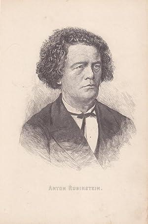 Anton Rubinstein (1829-1894), schöne Radierung des Komponisten entstanden um 1880, Blattgr&...