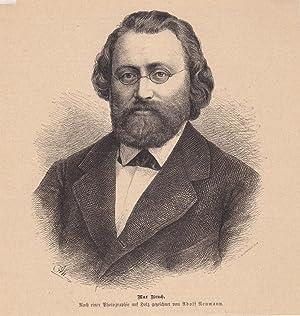 Max Bruch (1838-1920), Holzstich um 1880, Blattgröße: 19,5 x 18,5 cm, reine Bildgrö...