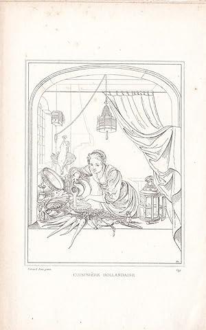 Cuisiniere Hollandaise, Umrisskupfer um 1820 nach Gerard Dow (1613-1675), Blattgröße: 18...