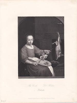 The Cook, Die Köchin, Kucharka, Stahlstich um 1850 nach G. Metzu aus dem Hause A.H. Payne, ...