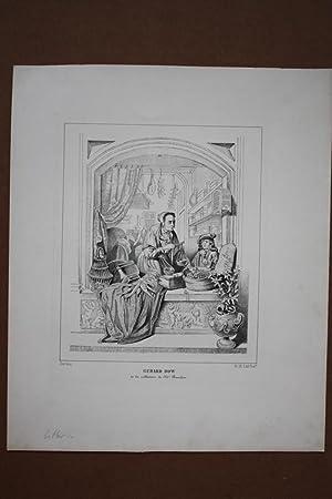 Der Lebensmittelhändler, Fensterszene, schöne Lithographie um 1830 nach Gerard Dou (1613-...