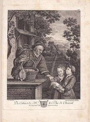 Gemüsehändler, Kinder, Bohnen, Kupfestich um 1780 Du Cabinet de Mr. le Duc de Choiseul, ...