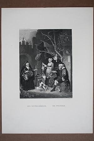 Der Geflügelhändler, The Poulterer, Stahlstich um 1860 von T. Heawood nach Gabriel Metsu ...