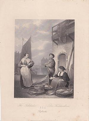 The Fishdealer, Die Fischhändlerin, Rybiarka, schöner Stahlstich um 1866 von A.H. Payne ...