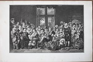 Festgesellschaft, Tafel, Bankett, großformatiger Kupferstich um 1770 mit Blick auf eine gro&...