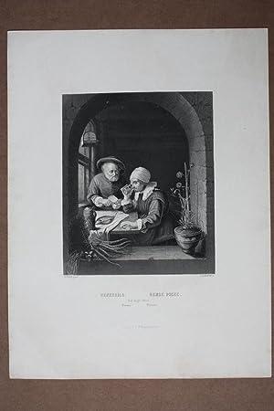 Genrebild, Genre Piece, altes Paar beim Essen, Stahlstich um 1840 von A.H. Payne nach Mieris, ...