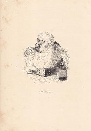 L alderman, Essen, Holzstich um 1850 mit übergewichtigem Mann beim Essen, Blattgröß...