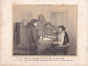 Familie am Esstisch, Lithographie 1852 mit fragendem Kind am Esstisch aus Düsseldorfer ...