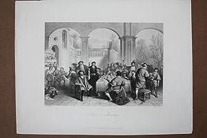 Johann v. Maubeuge, festliches Gelage, Festtafel, Stahlstich um 1850 von W. French nach Madou aus ...