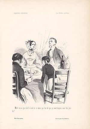 Lenfant terribles, Familie am Esstisch, Holzstich um 1860 von Gavarni, Blattgröße: 26,5 ...