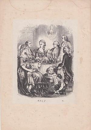 Familie bei Tisch, Kinder, Mädchen, Junge, Rokkoko, schöner Kupferstich um 1767, Blattgr&...