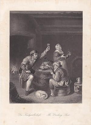 Die Trinkgesellschaft, The Drinking-Bout, Stahlstich um 1850 von W. French aus dem Haus A.H. Payne,...