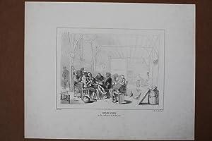 Dorfschänke, Bauern, Henry Zorg de la collection de Mr. Bacofen, Lithographie um 1850, Blattgr...