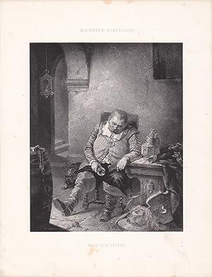 Nach dem Zechen, Lithographie um 1860 mit betrunkenem Mann an Kneipentisch zusammen gesunken, ...
