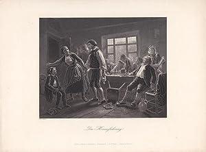 Die Heimführung, Taverne, Bauern, Stahlstich um 1850 von G. Brinkmann nach Carl Hübner, ...