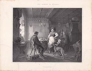 Verlegenheit, Bauerntaverne, Hund, Kind, Zecher, schöne Lithographie um 1860, Blattgrö&...