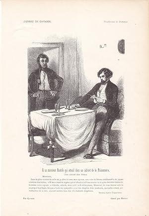 Tisch, Zylinder, A un monsieur Anatole qui attend dans un cabinet de la Poissonerie, Holzstich um ...