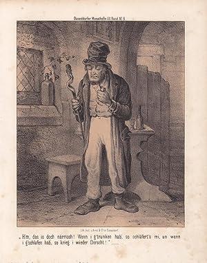 Trinker, Zecher, Wein, Pfeife, getönte Lithographie um 1850 aus Düsseldorfer Monathefte, ...