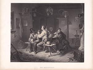 Der Morgentrunk, Zecher, Taverne, Bar, Lithographie um 1860 mit drei Männern beim ...