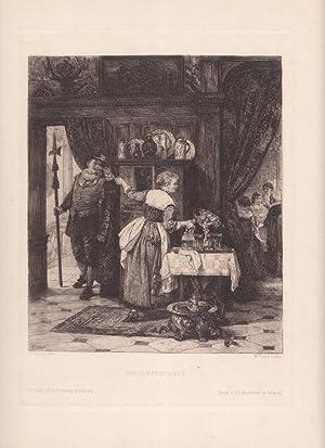 Der Liebesdienst, Wein, schöne Radierung um 1875 von W. Unger nach A. Siegert, Blattgrö&...