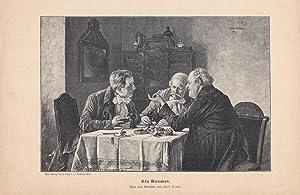 Ein Bonmotm Taverne, Zecher, Holzstich um 1880 nach dem Gemälde von Karl Zewy (1855-1929), ...