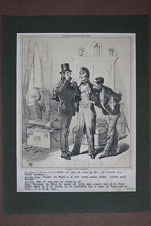 Rechnung, Kellner, Lithographie um 1855 mit drei Herren im Gespräch aus Düsseldorfer ...