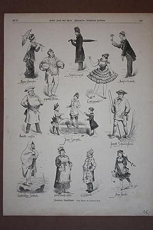 Illustrierte Speisekarte, Holzstich um 1880 mit Personen die bestimmten Speisen zugeordnet werden, ...