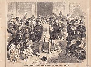 Schwarzer Freitag, Vor dem Bankhause Overend, 11. Mai 1866, Holzstich um 1867, Blattgröß...