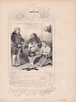 Bitumen Aktien, Börse, original Lithographie um 1839 von Honoré Victorin Daumier (1808 ...