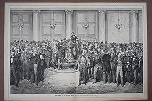 Ein Mittag auf der Berliner Börse, großformatiger Holzstich um 1870 auf Doppelblatt nach...