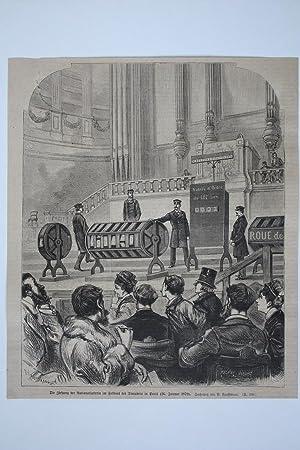 Die Ziehung der Nationallotterie im Festsaal des Trocadero in Paris (26. Januar 1879), Holzstich ...