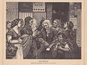 Lotto Schwestern, Glücksspiel, Los, Holzstich um 1880, Blattgröße: 15,8 x 21 cm, ...