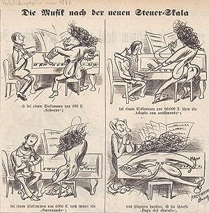 Die Musik nach der neuen Steuer-Skala, Federlithographie um 1870 mit humoristischer Darstellung ...