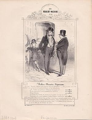 Kaufmann, Zylinder, Händler, original Lithographie um 1839 von Honoré Victorin Daumier ...