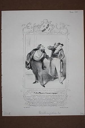 Handlungsreisender, original Lithographie um 1839 von Honoré Victorin Daumier (1808 - 1879) ...